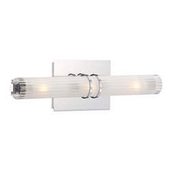"""George Kovacs - George Kovacs Rings Collection 15 3/4"""" Wide Bath Wall Light - Make a modern bath area stand out with a three bulb contemporary bath light. It's sleek lines are accented by two chrome rings a chrome finish back and frosted glass. The columned look of the glass adds to its cutting edge appeal. From George Kovacs. George Kovacs Rings Collection. Chrome finish. Frosted glass. Includes three 40W G9 Xenon bulbs. 15 3/4"""" wide. 5"""" high. Extends 3 1/4"""" from the wall. ADA compliant.  George Kovacs Rings Collection.   Chrome finish.   Frosted glass.   Includes three 40W G9 Xenon bulbs.   15 3/4"""" wide.   5"""" high.   Extends 3 1/4"""" from the wall.   ADA compliant."""