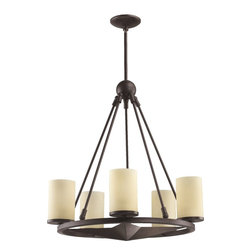 Quorum Lighting - Quorum Lighting Lone Star Transitional Chandelier X-44-5-8216 - From the Lone Star Collection, this Quorum Lighting chandelier features a medieval inspired circular shape, with a large star within the center. The star is surrounded by five lights in pillar shaped shades. This transitional chandelier features Toasted Sienna finishing and amber scavo glass.