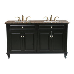 Bellaterra Home - 62 Inch Double Sink Vanity-Wood-Ebony - This double bathroom vanity offers plenty of form and function. With four doors installed with soft close hinges, it is constructed with solid wood in rich black finish, It is carefully finished in multiple layer of top coat to endure water proof surface to withstand humidity in bathroom. The trim and a raised panel gives elegance to the cabinet. The Baltic brown granite top and the white UPC ceramic sink reflects the simplicity yet elegance of this cabinet. Birch + plywood