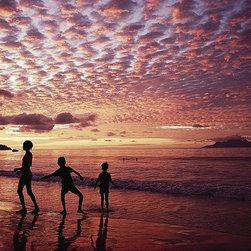 Magic Murals - Children Playing on Beach Silhouette Wallpaper Wall Mural - Self-Adhesive - Mult - Children Playing on Beach Silhouette Wall Mural