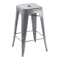 """sugarSCOUT - Custom Painted Tolix Style 24"""" & 30"""" Counter or Bar Stools, Silver, 24"""" - Go bright....go colorful."""