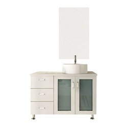 White Lune Vessel Sink Modern Bathroom Vanity Cabinet