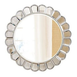 "Garbo Mirror - Add excitement and glamour to a room with this beautfiul Garbo Mirror.  The large center mirror is surrounded by ""mirror petals"" giving this stunning mirror the look of a beautiful flower.42"" diam., overall; center mirror is 30"" diam."