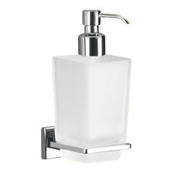 Gedy - Wall Mounted Frosted Glass Soap Dispenser With Chrome Mounting - Modern, trendy wall soap dispenser made of frosted glass and chromed brass.