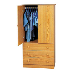 Prepac - Prepac Oak Edenvale 30 Inch 3-Drawer Junior Wardrobe - Say goodbye to your overcrowded closet with the edentate 3 drawer wardrobe. With three full-sized drawers, a two-door cabinet and a hanging rod, this wardrobe is your all-in-one storage solution. Its clean, minimalist style makes it an easy addition to any small bedroom. So don't clutter up your bedroom, keep it simple with this efficient and affordable wardrobe. Complete the look with other pieces in the edentate bedroom collection!
