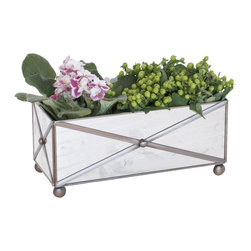 Worlds Away - Worlds Away Rectangular Crosshatch Antique Mirror Planter AMT125 - Worlds Away Rectangular Crosshatch Antique Mirror Planter AMT125