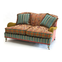 Highland Loveseat | MacKenzie-Childs - Does it get any cozier? Inviting tapestry and velvet fabrics, MacKenzie tartan, top-grain aniline dyed leather and decorative nailhead trim. Hand-painted aqua and moss checks on turned wooden feet. Includes two reversible pillows. The reversible seat cushion is a jewel-tone woven paisley on one side, and checked linen velvet in aqua and moss on the other. The front rail has a red leather tack strip with decorative nailhead trim.