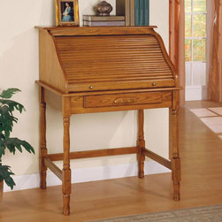 Coaster - Oak Traditional Secretary - Oak finish roll top secretary desk. Oak finish drawer cabinets with locks.