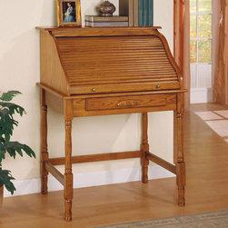 Coaster Oak Traditional Secretary Oak Finish Roll Top