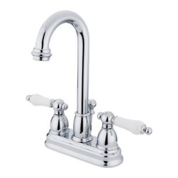 "Kingston Brass - Two Handle 4"" Centerset Lavatory Faucet with Retail Pop-up KB3611PL - Two Handle Deck Mount, 3 Hole Sink Application, 4"" Centerset, Fabricated from solid brass material for durability and reliability, Premium color finish resist tarnishing and corrosion, 1/4 turn On/Off water control mechanism, 1/2"" IPS male threaded shank inlets, Duraseal washerless cartridge, 2.2 GPM (8.3 LPM) Max at 60 PSI, Integrated removable aerator, 3-3/4"" spout reach from faucet body, 10"" overall height.. Manufacturer: Kingston Brass. Model: KB3611PL. UPC: 663370022852. Product Name: Two Handle 4"" Centerset Lavatory Faucet with Retail Pop-up. Collection / Series: RESTORATION. Finish: Polished Chrome. Theme: Classic. Material: Brass. Type: Faucet. Features: Drip-free washerless cartridge system"
