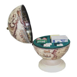 None - Playing Card, Dice and Poker Chip Storage Globe - This fantastic globe box is perfect for storing playing cards, poker chips and dice and looks great in any living room or den.