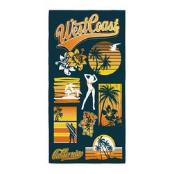 "Eco Friendly ""West Coast Dreamin""  Hand Towel - Our Bath/Beach Towels are made of a super soft poly fiber fabric with 2mm pile."