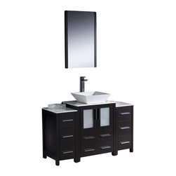 "Fresca - 48 Inch Modern Single Sink Vanity in Espresso, Espresso (Very Dark Brown) - Fresca is pleased to usher in a new age of customization with the introduction of its Torino line.  The frosted glass panels of the doors balance out the sleek and modern lines of Torino, making it fit perfectly in either Town or Country decor.  Available in the rich finishes of Espresso, Glossy White and Light Oak, all of the vanities in the Torino line come with either a ceramic vessel bowl or the option of a sleek modern ceramic undermount sink. Dimensions: 48""W X 18.13""D X 35.63""H (Tolerance: +/- 1/2""); Counter Top: White Ceramic ; Finish: Espresso - (Very Dark Brown - Can Appear Black in Certain Lighting); Features: 2 Doors, 8 Drawers; Hardware: Chrome; Sink(s): 16"" X 16"" X 5"" White Ceramic Vessel Sink; Faucet: Pre-Drilled for Standard Single Hole Faucet (Included); Assembly: Light Assembly Required - Item Ships in 3 Pieces; Large cut out in back for plumbing; Included: Cabinet, Sink, Choice of Faucet with Drain and Installation Hardware, Mirror (20.75""W X 1.25""D X  31.5""H); Not Included: Backsplash"