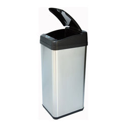 "itouchless - Square Extra-Wide Opening Touchless Trash Can in Brushed Stainless Steel - While you are cutting, cooking, washing, feeding your kids, or juggling tasks at the office, you will need a quick way to dispose your trash along the way. You are busy and you need a smarter trash can to share some of the loads for you, well, iTouchless Sensor Trash Can is here to help. The built-in infrared sensor allows the lid to open when your hand or any object approaches within 6 inches of the sensor range; as you walk away, it closes automatically to prevent odor from escaping. Since there's no direct contact with the can or lid, it eliminates the spread of germs and allows you to continue with your task without washing hands over and over again. Features: -Square trash can. -Brushed stainless steel finish. -Built-in infrared sensor allows automatic lid closing feature and keeps bugs away while eliminating odor leakage. -Air escape holes and carry handle allow easier trash bag removal. -Retainer ring will hide trash bag and prevent the bag from falling into the can. -Allows for multi-tasking while dumping trash. -Eliminates cross-contamination of germs. -Extra-wide opening 11.75"" D for extra large debris. -Easy to clean. -Fit most 13 gallon trash bags. -Powered by 4 D size batteries or optional AC Adaptor (both not included). -Manufacturer provides one year limited warranty. Dimensions: -28.25"" H x 10.5"" W x 13"" D, 8.8 lbs."