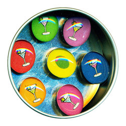"Happy Hour Glass Gem Magnet Set - Handmade in our studio, our Happy Hour magnets started with tiny paintings of which were reproduced then reduced to size. We use super strong ceramic magnets, so they're not only cute, they're functional. (Unlike those magnets that fall off when you close the refrigerator door!) Each magnet is about 3/4 inch wide, the tin is 2.75"" wide. Set of 7 in a tin. Made in the USA."