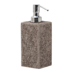 "Pigeon & Poodle - Pigeon & Poodle Umbra Gray Hide Soap Pump - The Pigeon & Poodle Umbra soap pump's textured design captivates in a modern bathroom. On a simple silhouette, gray hair-on-hide makes a bold statement. 2.5""W x 2.5""D x 7.25""H; Waterproof interior; Include stainless steel pump; Due to handmade quality, natural variations may occur"