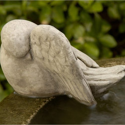 Campania International - Campania International Bathing Bird Cast Stone Garden Statue - A-306-AL - Shop for Statues and Sculptures from Hayneedle.com! About Campania InternationalEstablished in 1984 Campania International's reputation has been built on quality original products and service. Originally selling terra cotta planters Campania soon began to research and develop the design and manufacture of cast stone garden planters and ornaments. Campania is also an importer and wholesaler of garden products including polyethylene terra cotta glazed pottery cast iron and fiberglass planters as well as classic garden structures fountains and cast resin statuary.Campania Cast Stone: The ProcessThe creation of Campania's cast stone pieces begins and ends by hand. From the creation of an original design making of a mold pouring the cast stone application of the patina to the final packing of an order the process is both technical and artistic. As many as 30 pairs of hands are involved in the creation of each Campania piece in a labor intensive 15 step process.The process begins either with the creation of an original copyrighted design by Campania's artisans or an antique original. Antique originals will often require some restoration work which is also done in-house by expert craftsmen. Campania's mold making department will then begin a multi-step process to create a production mold which will properly replicate the detail and texture of the original piece. Depending on its size and complexity a mold can take as long as three months to complete. Campania creates in excess of 700 molds per year.After a mold is completed it is moved to the production area where a team individually hand pours the liquid cast stone mixture into the mold and employs special techniques to remove air bubbles. Campania carefully monitors the PSI of every piece. PSI (pounds per square inch) measures the strength of every piece to ensure durability. The PSI of Campania pieces is currently engineer