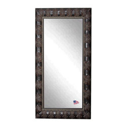Rayne Mirrors - American Made Rayne Feathered Mahogany Floor Mirror - Spark drama in your space with this glamourous frame finished in a warm aged mahogany wood, embellished with feathered details.  This artfully tailored Floor mirror presents a visually texture-rich refection. Rayne's American Made standard of quality includes; metal reinforced frame corner support, both vertical and horizontal hanging hardware installed and a manufacturers warranty.