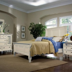 Magnussen Home Furnishings Inc - Ashby Panel Bed Multicolor - MHF163 - Shop for Beds from Hayneedle.com! The Ashby Panel Bed Set says so much about your sense of style. With an elegant white patina finish and a timeless cottage design the Ashby is a classic fit for nearly any decor. Magnussen is a trusted name in bedroom furniture and has ensured quality construction of this piece crafting it from a combination of solid hardwoods rimba veneers and molded composites. We love the distinctive framed panels tapered feet and crowning finials. You'll love the cozy inviting style that all these details create together. Available in king California king and queen sizes. Bed Dimensions:Queen: 66L x 90W x 84H inchesKing: 84L x 90W x 84H inchesCalifornia King: 84L x 94W x 84H inches Refresh your entire bedroom with timeless cottage style by adding your choice of the following optional bedroom furniture pieces: one or two nightstands a chest and a dresser with mirror. The nightstands each have three drawers and one sliding shelf the chest has eight drawers and the dresser has 11 drawers with decorative cabinet doors. Each storage piece is constructed with rimba veneers hardwood solids and molded composites covered in a patina white finish with contrasting nickel hardware. All drawers are built with sturdy French and English dovetail joinery and smooth full-extension metal slides. Top drawers are felt-lined to protect delicate accessories. Reeded glass door panes on the dresser add a touch of modern elegance to the architecturally rich design. The matching landscape mirror boasts a beautiful wood frame with thick molding. Bedroom Furniture Dimensions: Nightstand: 30W x 18D x 32H inches Chest: 45W x 22D x 66H inches Dresser: 64W x 20D x 44H inches Mirror: 36W x 2D x 43H inches About Magnussen FurnitureFrom their beginning as a small furniture company in Ontario Canada Magnussen Furniture has evolved into a full-line furniture resource with offices in Canada the U.S. and the Far E