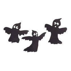 Ghostly Yard Art - Set of 3 - These ghastly friends will haunt your lawn, giving your trick-or-treaters something to scream about! They are large and lots of fun, and you're sure to enjoy their presence in your yard every Halloween. Each has stakes attached so you can set them up as soon as they arrive at your door!