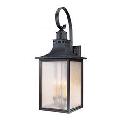 Joshua Marshal - Four Light Slate Pale Cream Seeded Glass Wall Lantern - Four Light Slate Pale Cream Seeded Glass Wall Lantern