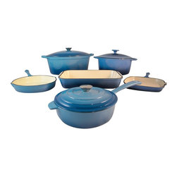 Le Chef Cookware - Le Chef 9-Piece Enamel Cast Iron Blue Cookware Set - Le Chef 9 Piece Cookware Set is energy efficient, versatile and long lasting. Energy efficient enamel cast iron distributes heat evenly, prevent foods from burning or forming lumps, and retains heat longer to keep foods hot for serving. This remarkable cookware is safe for stovetop, oven and dishwasher-you can even use it to store food in the refrigerator. Tight-fitting lid locks in moisture and flavor resulting in tender roasts and stews. High quality porcelain enamel coating is impermeable to odors and stains. * Heavy duty cast iron construction for great cooking and a century of use.
