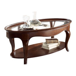 American Drew - American Drew Cherry Grove NG 2 Piece Glass Coffee Table Set in Brown - 2 Piece Glass Coffee Table Set in Brown belongs to Cherry Grove New Generation collection by American Drew Cherry Grove New Generation line promises the same timeless quality and appeal with a full line of dining room, bedroom, home office, entertainment and occasional furniture. The line incorporates many elegant curves and graceful movement, and is updated with today's finishes, functionality and style. The inviting mid tone brown finish makes the cherry veneers pop on each piece, along with custom designed hardware. This line takes advantage of vertical space with higher case heights, and maximizes the utility of small spaces with hinged drop leaves on servers and tables. In combination, the collection takes functionality to a lifestyle level and allows urban or scaled-down living spaces to become entertainment areas, making small rooms work like big rooms. The New Generation of Cherry Grove is about honoring tradition while staying on trend.