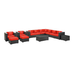 Modway - Cohesion Sectional Set in Espresso Red - Preside steadfastly at each assembly as concurrent movements take you forward. The Advance Outdoor Sectional Set brings you to a place of carefully considered output and restorative order. Embrace a homeostatic system where precise handiwork help you attain true collectivity.