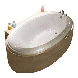 Spa World Corp - Atlantis Tubs 4270PAL Petite 42x70x23 Inch Oval Air Jetted Bathtub w/ Left - The Petite series features a classic oval-shaped bathtub design with stylish, ridged edges. The oval bathtub opening allows bathers to enjoy a comfortable bathing experience.  An airpool bathtub creates thousands of warm bubbles that stimulate the skin's light touch receptors, producting an overall calming effect.  An air blower works like a giant hair dryer, taking the room temperature air, increasing it by approximately 30-degrees and blowing it through the bath.  Air baths differ from a whirlpool in that the massage is much softer.  Drop-In tubs have a finished rim designed to drop into a deck or custom surround.  They can be installed in a variety of ways like corners, peninsulas, islands, recesses or sunk into the floor.  A drop in bath is supported from below and has a self rimming edge that is designed to sit over a frame topped with a tile or other water resistant material.  The trim for the air or water jets is featured in white to color match the tub.