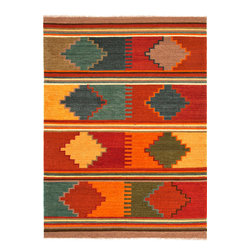 Jaipur Rugs - Flat Weave Tribal Pattern Multi Color Wool Handmade Rug - AT04, 8x10 - Feel the warmth. The classic tribal print of this wool rug will fill your room with color and relaxing comfort. Easily cleaned with regular vacuuming, its natural wool fiber resists stains and dirt. Beautiful and handwoven by Indian artisans.