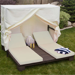 None - Palms Tent Bed - Lay out in style with this double chaise chair with tent. This unique lounge chair features eye-catching white and brown colors and includes weather-resistant fabric cushions and tent.
