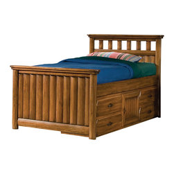 American Woodcrafters - American Timberline Full Captains Bed with Storage Pedestal in Rich Saddle Brown - Design the perfect bedroom for a young child with this rustic yet durable furniture collection. The Timberline Youth Collection expresses traditional styles in a unique fashion. Selected solids and veneers have a rich saddle brown finish that gives the furniture a heartwarming glow. All drawers are constructed with door stops to prevent the drawers from being pulled out of the case and causing an accident. This is an excellent feature for young child. The drawers have wood interiors and veneered bottoms. The bottom drawers have dust-proof bottoms that will keep your clothes free from dirt and bugs. All drawers are also detailed with authentic strap hardware in a rustic metal finish. The hardware has simulated nail heads at each end and is recessed into the drawer fronts. Central guides on the drawers make operation smooth and effortless. The bunk and loft beds are also Safety Certified ensuring the safety of your children. Not only will your home have radiant style but children will enjoy the rustic nature of this furniture collection.