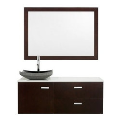 "Modern Bathroom - Akira 48"" Bathroom Vanity - Espresso - The Akira 48"" Bathroom Vanity blends a tranquil glass counter, the open spacious feeling of a wall-mount vanity, and copious storage. Bring modern design and everyday practicality to your bath with this vanity. Two drawers and large door with soft-close door hinges provide abundant storage. Choose between beautiful white glass, green glass, or smoke glass counters to match your style, or completely customize it with your perfect CaesarStone counter. This vanity can be mounted to your perfect height because of the variable wall-mount design. And add a mirror for an appealing set.Features Includes brilliant glass counter Custom CaesarStone counters available Includes 2 drawers and 1 large door Includes soft-close door hinges Includes porcelain sink Optional matching mirror Faucet not included Pre-drilled for a single hole faucet Variations in the shading and grain of our natural stone products enhance the individuality of your vanity and ensure that it will be truly unique How to handle your counter Spec Sheet "" target=""_blank"" class=""pdf"">Installation Instructions -->Spec Sheet for Claire Rotating Wall Cabinet with mirror (WC-B802) Spec Sheet for Sarah Storage Cabinet (WC-B803) Spec Sheet for Accara Bathroom Wall Cabinet (WC-B805) Spec Sheet for Maria Bathroom Wall Cabinet (WC-B807) Please note that all custom natural stone and Caesarstone counters are proudly manufactured in the USA specifically for your order, and so require at least 4 weeks manufacturing time. Caesarstone Carbone, Starry Night, Spring Blossom, and Marrone are made from recycled content. Quartz Reflections and Ruby Reflections colors are made with up to 35% post-consumer recycled glass. Chocolate Truffle color is made with up to 17% post-consumer recycled glass."