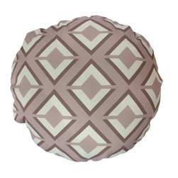DD - Gray Argos Round Outdoor Pillow - A geometric pattern transforms this round pillow into a piece of modern art