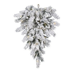 Vickerman 36 in. Snow Ridge Tear Drop Pre-Lit Swag - Hand the Vickerman 36 in. Snow Ridge Tear Drop Pre-Lit Swag from your door, wall, or banister to add to the holiday cheer in your home. With its flocked designed and 50 LED white lights casting a warm glow, you'll feel like you're in the middle of a wintry forest instead of in your home. About VickermanThis product is proudly made by Vickerman; a leader in high quality holiday decor. Founded in 1940; the Vickerman Company has established itself as an innovative company dedicated to exceeding the expectations of their customers. With a wide variety of remarkably realistic looking foliage; greenery and beautiful trees; Vickerman is a name you can trust for helping you create beloved holiday memories year after year.