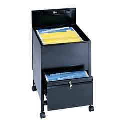 Safco - Safco Locking Mobile Legal Size Tub File with Drawer in Black - Safco - Filing Cabinets - 5365BL - Give organizing the right push with a mobile filing system. The filing system is complete with a tub file on top and a full suspension bottom file drawer that provides additional filing and storage capacity. Both lid and file drawer lock (4 keys included). Durable steel construction holds up to heavy daily use. Top viewing design allows easy filing and retrieval of stored documents. Holds letter size hanging file folders (not included). Rolls easily to point of use on four swivel casters (two lock).