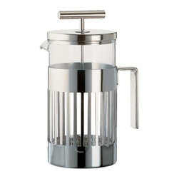 Alessi - Aldo Rossi 8 Cup French Press by Alessi - The Aldo Rossi 8 Cup French Press Coffee Maker, by Alessi, a 2005 Aldo Rossi design, is a great gift for Java lovers young and old. A word of caution: Once you try French Press coffee, you may never turn back. This stylish French Press Coffee Maker is made of heat resistant glass and stainless steel.