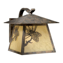 Vaxcel Lighting - Vaxcel Lighting Yellowstone Traditional Outdoor Wall Sconce X-AO31505WO - This Vaxcel Lighting Yellowstone Traditional Outdoor Wall Sconce is truly a nature-inspired piece. Notice the simplicity of the design, with the frame in an olde world patina finish, pine cone motif and panels of rust scavo glass shade. It's a wonderful way to bring a little bit of the outdoors into your home.