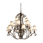 Kichler Lighting - Kichler Lighting 43281TRZ Mithras 15-Light Traditional Classic Chandelier - Romantic curves and refined styling make this 15 light chandelier from the Mithras collection an elegant showpiece. Featuring a unique Terrene Bronze™ finish and shown with the OPTIONAL Beige Patterned Fabric shades(4087BG), this design will elevate and enhance your home.