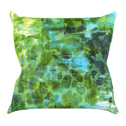 "Kess InHouse - Ebi Emporium ""Pastel Jungle II"" Green Blue Throw Pillow (18"" x 18"") - Rest among the art you love. Transform your hang out room into a hip gallery, that's also comfortable. With this pillow you can create an environment that reflects your unique style. It's amazing what a throw pillow can do to complete a room. (Kess InHouse is not responsible for pillow fighting that may occur as the result of creative stimulation)."