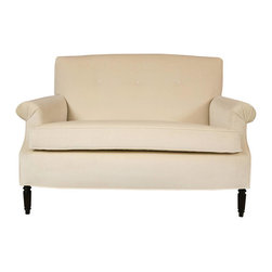 1940s Hollywood Regency Style Loveseat in Custom Crème Velvet - Beautifully tailored, custom upholstered 1940s single cushion Hollywood Regency style love seat. Pleated flat panel arms and button tufted back. Quality crème velvet.