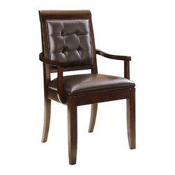 American Drew - American Drew Tribecca Upholstered Leather Arm Chair-KD in Root Beer - The Tribecca mixes it up with modern, Art Deco, and Asian influences. Lighter scaled, with classic clean lines and pared down forms, Tribecca's inviting textures, rich wood tones and nickel finish hardware could be just the fresh look you've been trying to imagine for the new retirement condo on the shore or a trendy city loft.
