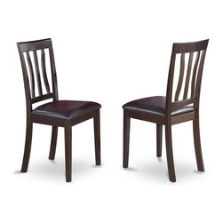 East West Furniture - Dinette Chair in Cappuccino Finish- Set of 2 - Set of 2. Chairs with faux leather upholstered seat. Solid wood frame with slatted back. Made from 100% Asian solid wood. Made in Vietnam. Assembly required. Seat height: 18 in.. Overall: 18 in. W x 17 in. D x 38.5 in. H (37 lbs.)