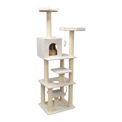 "Majestic Pet Products - 78"" Bungalow - Sherpa - Majestic Pet Products 78"" Casita Cat Tree is covered in elegant honey colored Faux Fur with Sisal Rope wrapped posts, that will withstand the toughest claws. Your cat will spend all day on this huge playground featuring a third story residence, multiple levels, a porthole, four perches, a dangly mouse, and a rope toy. Our"" Casita Cat Tree assembles in minutes with simple step by step instructions and tools provided."