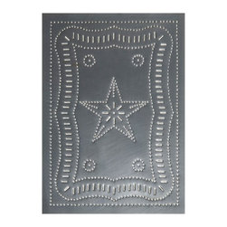 """USA Handcrafted - Four Handcrafted Punched Tin Cabinet Panel Federal Americana Star Design, Countr - Our punched panels are handcrafted in Pennsylvania, available in copper or a variety of tin finishes, they are perfect cabinet inserts, and suitable for all of your primitive country decorating needs, Sold in Packs of Four, Each Measures 10"""" wide X 14"""" high"""