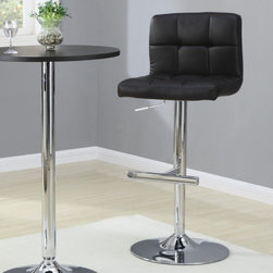 "Wildon Home � - Groom Barstool with Quilted Back in Black (Set of 2) - Featuring a wide range of sizes, colors, and designs, the Dining Chairs & Bar Stools collection by Coaster lets you easily pick and choose the style you want. Bar height stools and traditional dining chairs are built in contemporary, formal, and casual styles fit for any occasion. Crafted in metal, wood, and upholstery, each piece promises long-lasting support and durability. Furnish everything from your formal dining table to a trendy bar area with the eclectic Dining Chairs and Bar Stools collection. Add this simple, modern bar stool to your pub table or bar for a distinct contemporary style. Seat cushion and backrest are upholstered in a black, durable leather-like vinyl for long-lasting appeal. Underneath the seat is a lever, allowing chair to extend height to 41.5"" for easy, individualized comfort. A thick metal pedestal and base with footrest finished in a high-polished chrome complete this barstool, promising long-lasting support and durability. Features: -Groom collection. -Chrome finish. -Upholstered in black fabric. -Contemporary style. -Wood Veneers & Solids. -Thick metal pedestal and base with footrest. -Upholstered backrest for support. Dimensions: -Seat height: 29"". -Overall: 35.25"" H x 18"" W x 18"" D, 23.1 lbs."