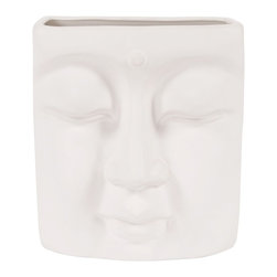 Howard Elliott - Peaceful Buddha Wall Vase - This ceramic vase features a vast resemblance to Buddha. It is finished in a matte eggshell white and can hang on the wall.