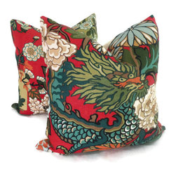 Pop O Color - Pair of Schumacher Chiang Mai Dragon Pillow Covers, Red Lacquer, 18x18 - Add a Pop O Color to your decor with this pair of Chiang Mai Dragon pillow covers. If your room is in need of a statement piece this is it. This gorgeous heavy weight linen fabric has wonderful rich colors: reds, oranges, blues, greens and browns on an mocha brown background. It is one of Schumacher's new fabrics but its style will endure forever. Chiang Mai Dragon was originally derived from an exuberant 1920s Art Deco era block print. The pattern is table printed on a linen ground.
