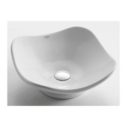 Kraus - White Tulip Ceramic Sink - Pop Up Drain & Mounting Ring Not Included