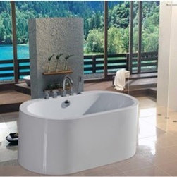 "Aquatica - Aquatica PureScape 169 Semi-Freestanding Acrylic Bathtub - White - Treat yourself and soak in peaceful tranquility with Aquatica's stylish and ergonomic PureScape 169 freestanding bathtub. Aquatica challenges everything we thought we knew about a bathtub with the world-class modern design and ergonomic features that are incorporated into all of their luxury tubs. Aquatica Purescape bathtubs are as pleasing to the eye as they are to soak in. Their striking visual appeal adds a mesmerizing modern elegance to any bathroom. From the finest selection of raw materials all the way to the high-class design, Aquatica has spared no expense to innovate and create some of the highest quality bathtubs in the world.Aquatica's bathtubs offer modern glamour at affordable prices. The Aquatica line is diverse enough to encompass both bathtubs with classical elegance that match the style of your bath and bathtub models that are distinctive and unique as the centerpiece of your remodel.FeaturesStriking upscale modern designFreestanding constructionSolid, one-piece construction for safety and durabilityExtra deep, full-body soakErgonomic design forms to the body's shape for ultimate comfortQuick and easy installationConstructed of 8mm thick 100% heavy gauge sanitary grade precision acrylicPremium acrylic and tub thickness provides for excellent heat retentionHigh gloss white surfaceColor is consistent throughout its thickness - not painted onColor will not fade or lose its brilliance overtimePreinstalled cable drive pop up and waste-overflow fitting includedDesigned for one or two person bathingNon-porous surface for easy cleaning and sanitizingBuilt-in metal base frame and adjustable height metal legsChrome plated drain5 Year Limited WarrantyCode compliant with American standard 1.5"" waste outletsSpecificationsOverall Dimensions: 56.5 in. L X 29.5 in. W X 23.5 in. HDepth to Overflow Drain: 13.75 in.Interior Depth: 16.5 in.Interior Length (Top): 49.2 in.Interior Width (Top): 23.5 in.Interior Length (Bottom): 39.33 in.Interior Width (Bottom): 15.75 in.Weight: 90 lbsCapacity: See Spec SheetShape: OvalDrain Placement: CenterSpec SheetNote: This model usually ships in 1-2 days. Please allow an additional 2-3 business days for order transmittal and verification."